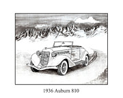 Pen And Ink Framed Prints Drawings Posters - 1936 Auburn 810 Poster by Jack Pumphrey