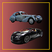 Old And New Prints - 1936 Bugatti 2010 Bugatti Print by Jack Pumphrey