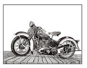 Head Drawings Prints - 1936 Harley Davidson Knucklehed Print by Jack Pumphrey