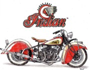 Automotive Drawings - 1936 Indian Chief by Dan Poll