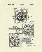 Indoor Drawings Metal Prints - 1936 Patent Art Dart Board Metal Print by Prior Art Design