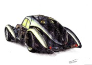Coupe Drawings Originals - 1937 Bugatti Type 57S by Dan Poll