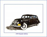 Automotive Drawings - 1937 Chrysler Airflow  by Jack Pumphrey