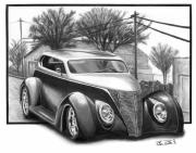 Road Trip Drawings Framed Prints - 1937 Ford Sedan Framed Print by Peter Piatt