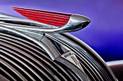 Historic Vehicle Photo Prints - 1937 Hudson Terraplane Sedan Hood Ornament 2 Print by Jill Reger