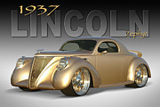 Gold Ford Prints - 1937 Lincoln Zephyr Print by Mike McGlothlen