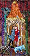 Acrylic Tapestries - Textiles - 1937  Lovers by Maria Alquilar