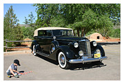 Children Framed Prints Prints - 1937 Packard 12 1508 and Ben Print by Jack Pumphrey