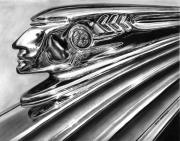 Vintage Hood Ornament Drawings Framed Prints - 1937 Pontiac Chieftain Abstract Framed Print by Peter Piatt