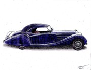 Sports Art Drawings Originals - 1938 Horch 853a by Dan Poll