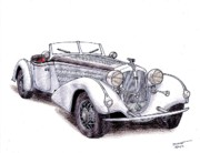 Sports Art Drawings Originals - 1938 Horch 855 by Dan Poll
