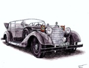 Coupe Drawings Originals - 1938 Mercedes-Benz 770K by Dan Poll