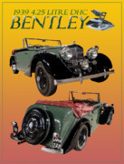 Mascots Digital Art Prints - 1939 Bentley Drop Head Coupe Print by Jack Pumphrey
