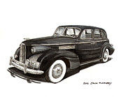 Ink Wash Prints - 1939 LaSalle Classic Print by Jack Pumphrey