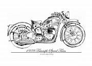 Early Drawings Originals - 1939 Triumph Speed Twin by Terence John Cleary