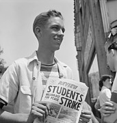 Students Photo Prints - 1940 Peace Strike At Berkeley. Student Print by Everett
