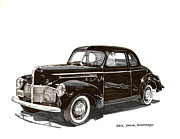 Pen And Ink Framed Prints Framed Prints - 1940 Studebaker Business Coupe Framed Print by Jack Pumphrey