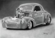 Hotrod Drawings Posters - 1940 Willys Coupe Poster by John Harding