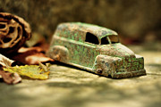 Brown Leaves Prints - 1940s Green Chevy Sedan Style Toy Car Print by Rebecca Sherman