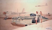 Futuristic Drawings Posters - 1941 Chrysler concept styling rendering Gil Spear Poster by ArtFindsUSA