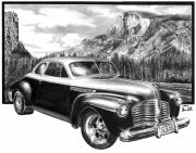 Yosemite Drawings - 1941 Roadmaster - Half Dome by Peter Piatt