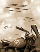 Sepia Posters - 1942 Indian 841 - B-17s Poster by Mike McGlothlen