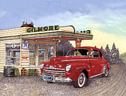 Gas Stations Prints - 1946 Ford Deluxe Coupe Print by Jack Pumphrey