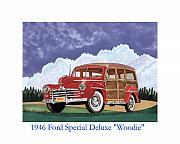 Country Art Drawings Prints - 1946 Ford WOODY Print by Jack Pumphrey