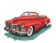 Framed Art Originals - 1947 Cadillac Series 62 Convertible by Jack Pumphrey