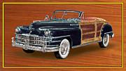 Surfing Art Prints Posters - 1948 Chrysler Town and Country Poster by Jack Pumphrey