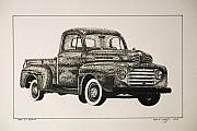 Ford Truck Drawings - 1948 F1 Pickup by Wayne Woodruff