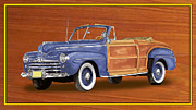Surfing Art Prints Posters - 1948 Ford Sportsman Convert. Poster by Jack Pumphrey