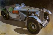 Sports Cars Paintings - 1948 M G  Racer by Doug Strickland