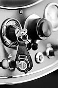 Car Detail Prints - 1948 MG TC Key Ring black and white Print by Jill Reger