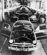 Disputes Prints - 1949 Ford Cars Sit On A Deserted Print by Everett