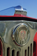 Historic Vehicle Photo Prints - 1949 Willys Jeepster Hood Ornament Print by Jill Reger