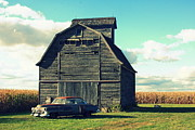 Lyle Hatch Acrylic Prints - 1950 Cadillac Barn Cornfield Acrylic Print by Lyle Hatch