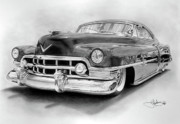 Hotrod Drawings Posters - 1950 Cadillac drawing Poster by John Harding