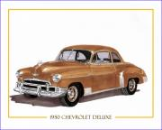 Door Drawings Posters - 1950 Chevrolet 2 door sedan Poster by Jack Pumphrey