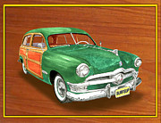 Surfing Art Prints Posters - 1950 Ford Country Squire Woody Poster by Jack Pumphrey