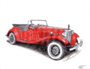 Coupe Drawings Originals - 1950 Mg Td by Dan Poll
