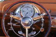 Chrome Prints - 1950 Oldsmobile Rocket 88 Steering Wheel 2 Print by Jill Reger