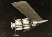 Spacecraft Art - 1950s Mars Spacecraft Design by Detlev Van Ravenswaay