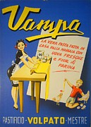 Italian Kitchen Drawings - 1950s Original Italian Advertising Carton Vampa Pasta  by Anonymous