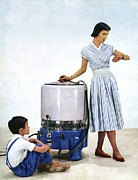 Housekeeping Posters - 1950s Washing Machine Advert Poster by Cci Archives