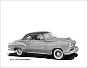 80s Drawings Framed Prints - 1951 Chevrolet Coupe Framed Print by Jack Pumphrey