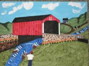 Amish Buggy Paintings - 1951 Covered Bridge by Jeffrey Koss