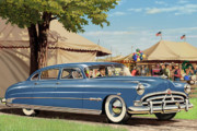 Country Digital Art Metal Prints - 1951 Hudson Hornet fair americana antique car auto nostalgic rural country scene landscape painting Metal Print by Walt Curlee