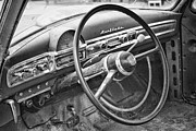 Ambassador Framed Prints - 1951 Nash Ambassador Interior BW Framed Print by James Bo Insogna