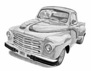 Storm Prints Drawings Prints - 1951 Studebaker Pickup Truck Print by Daniel Storm
